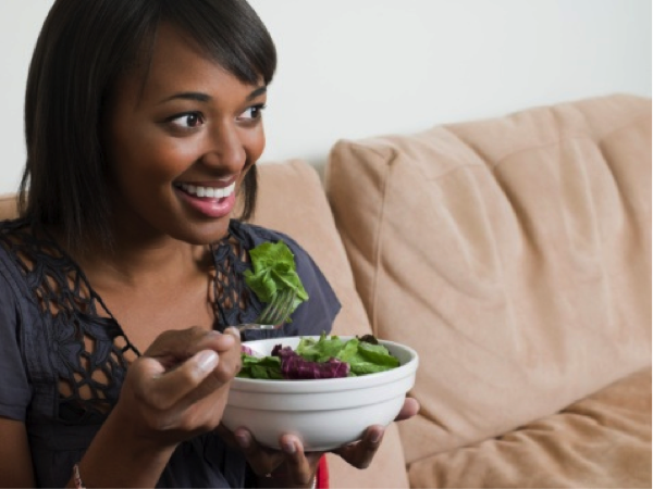 Her salad is so fun.