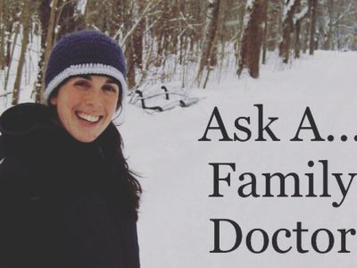 Smiling woman putting a sled with the words Ask A Family Doctor